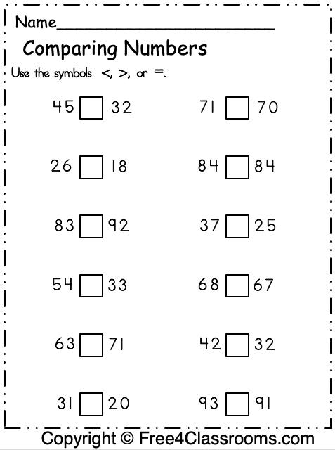 Free Comparing Numbers Worksheet 2