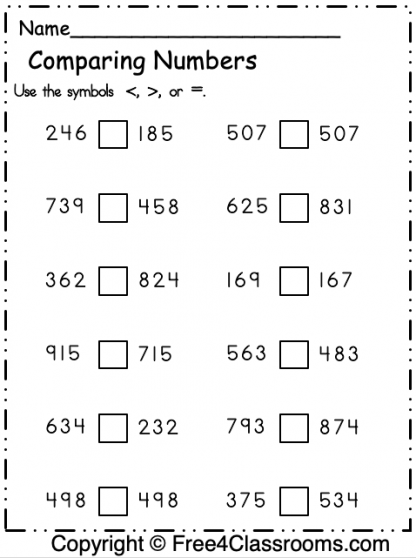 Free Comparing Worksheet
