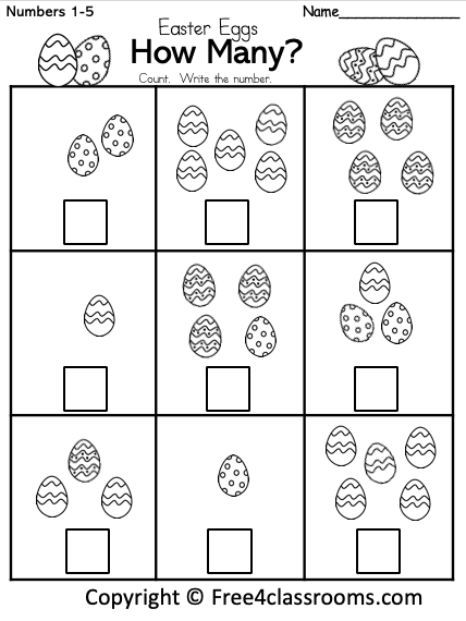 Free Easter Math Numbers Worksheet Free4Classrooms 1