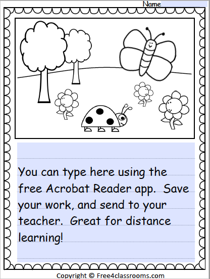 Free Fillable PDF Writing Page for Distance Learning Free4Classrooms