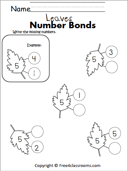 Free Leaf Math Number Bonds Worksheets