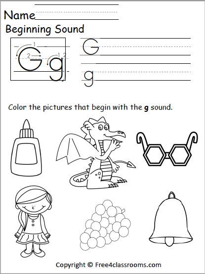 Free Letter G Phonics Worksheets Free4classrooms
