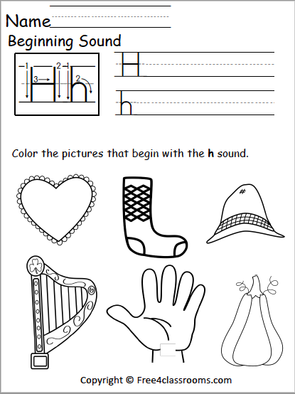 Free Beginning Sounds Worksheet - Letter H - Free4Classrooms