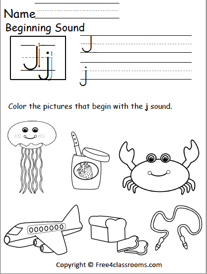 Free Beginning Sounds Worksheet Letter J Free4classrooms