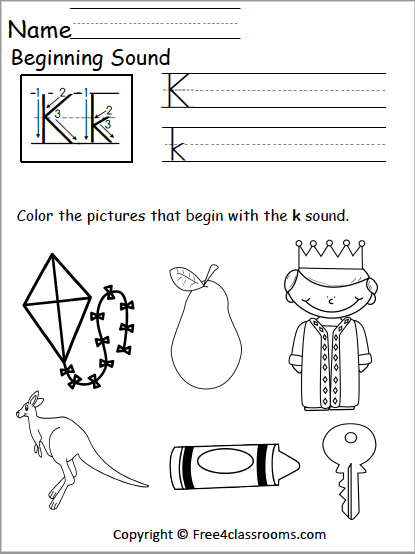 Free Letter K Phonics Worksheets Free4classrooms