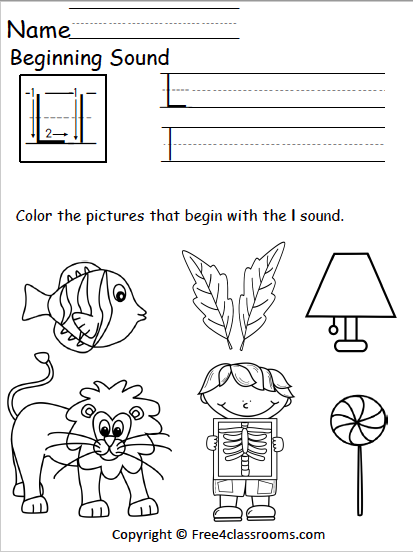 Free Letter L Phonics Worksheets Free4classrooms