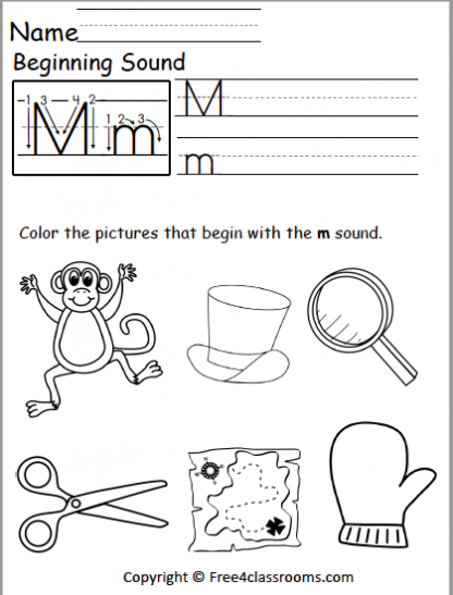 Free Letter M Phonics Worksheets Free4classrooms