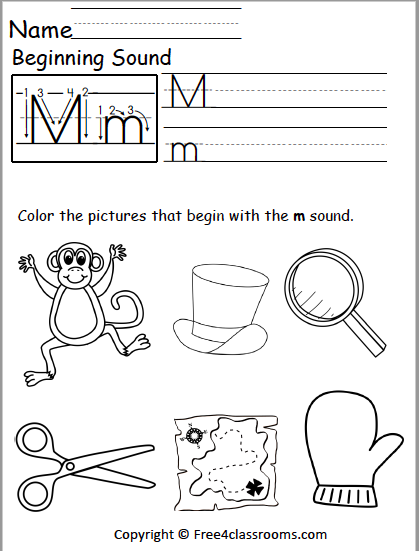 Free Beginning Sounds Worksheet Letter M Free4classrooms