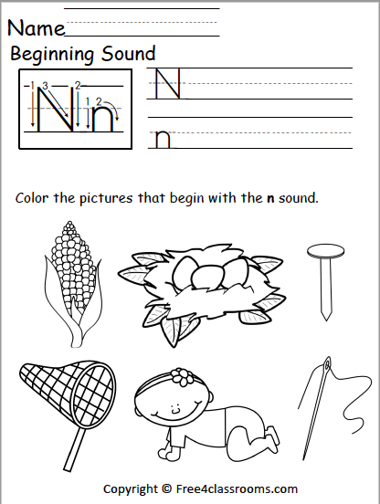 Free Letter N Phonics Worksheets Free4classrooms