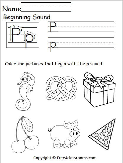 Free Letter P Phonics Worksheets Free4classrooms