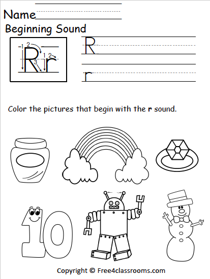 Free Beginning Sounds Worksheet Letter R Free4classrooms