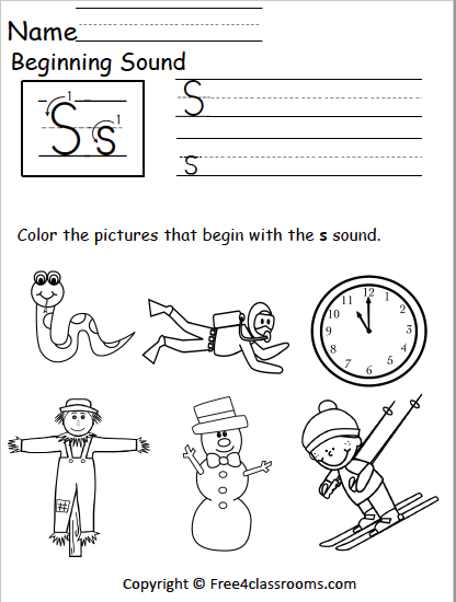 Free Beginning Sounds Worksheet - Letter S - Free4Classrooms