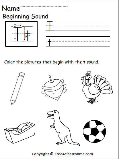 Free Beginning Sounds Worksheet - Letter T - Free4Classrooms