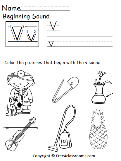 Free Letter V Phonics Worksheets Free4classrooms