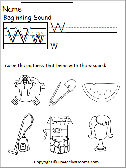 Free Letter W Phonics Worksheets Free4classrooms