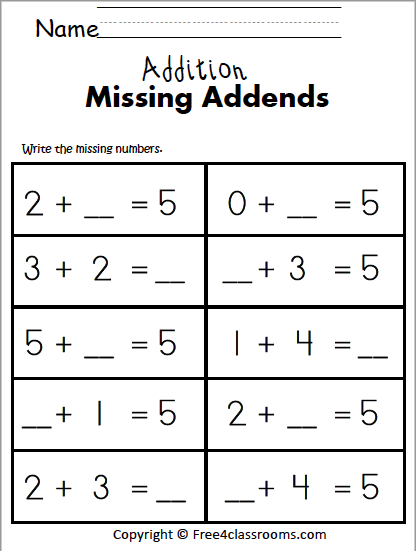 Free Math Addition 1 Digit Free4classrooms