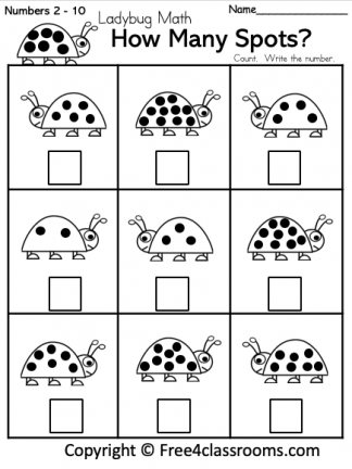 Free Math Number Counting Worksheet Free4Classrooms 1