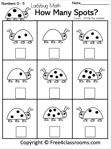 Free Math Number Counting Worksheet Free4Classrooms