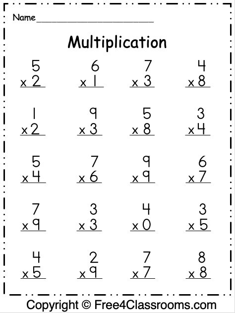 Free Multiplication 1 Digit Worksheet 1