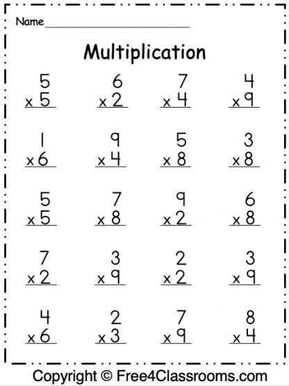Free Multiplication 1 Digit Worksheet 2