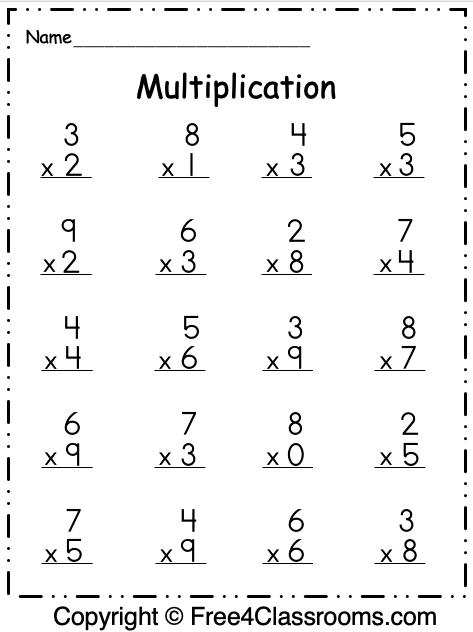 Free Multiplication 1 Digit Worksheet
