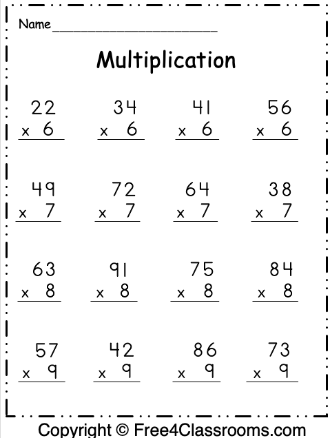 Free Multiplication 2 Digit By 1 Digit Worksheet 4