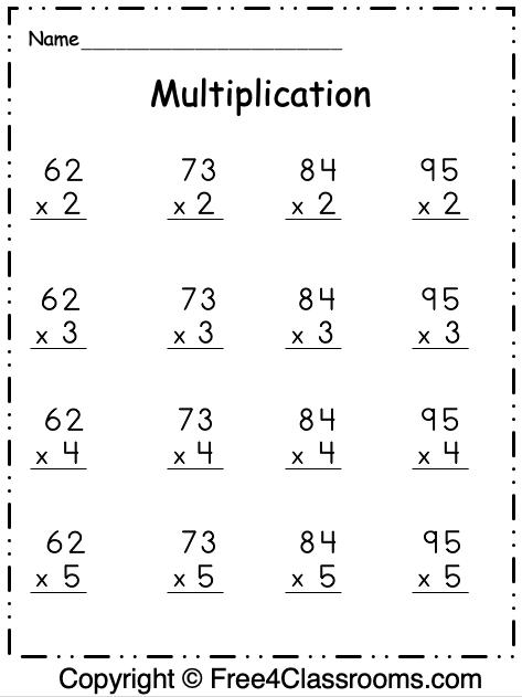 Free Multiplication 2 Digit By 1 Digit Worksheet 7