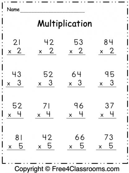 Free Multiplication 2 Digit by 1 Digit Worksheet