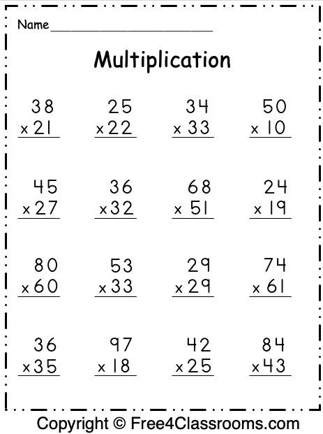 Free Multiplication 2 Digit by 2 Digit Worksheet 1