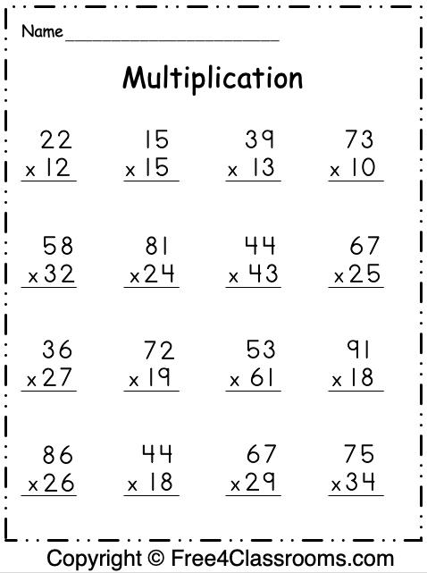 Free Multiplication 2 Digit by 2 Digit Worksheet 2