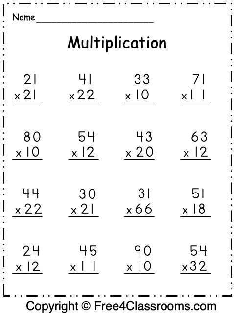Free Multiplication 2 Digit by 2 Digit Worksheet
