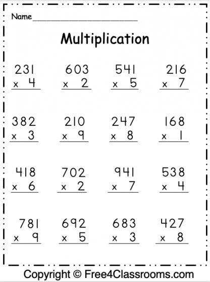Free Multiplication 3 Digit By 1 Digit Worksheet