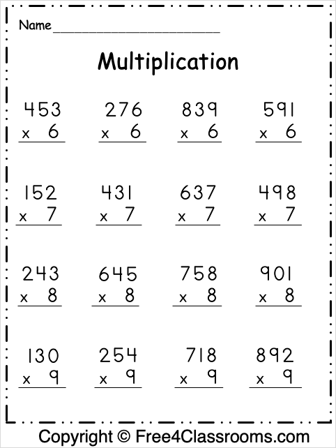 Free Multiplication 3 Digit Worksheet 1
