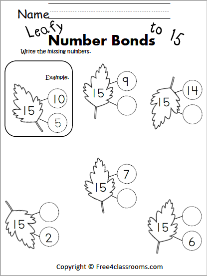 Free Number Bonds Worksheets free4classrooms