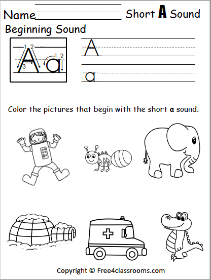Free Beginning Sounds Worksheet Short A Free4classrooms - Get Beginning Sounds Worksheets For Kindergarten Background