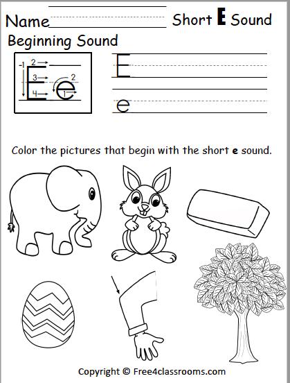 Free Short E Phonics Worksheets Free4classrooms