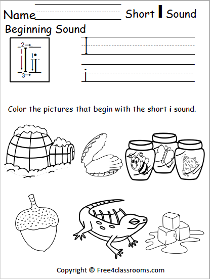 Free Short I Phonics Worksheets Free4classrooms