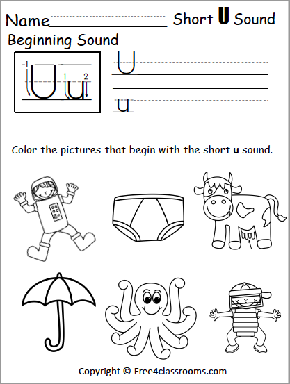Free Short U Phonics Worksheets Free4classrooms