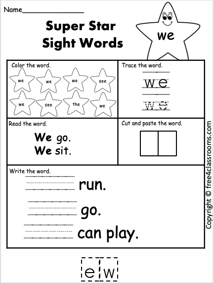 Free Sight Word Worksheet We