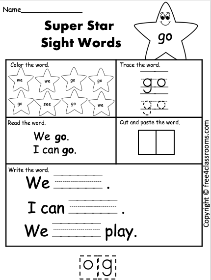 Free Sight Word Worksheet go