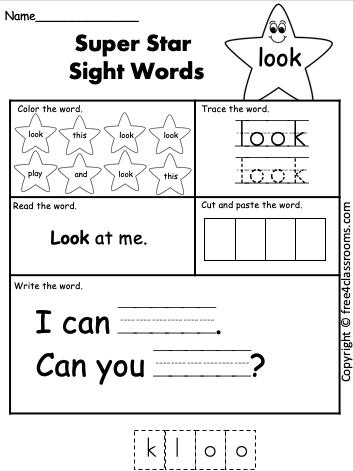 Free Sight Word Worksheet look