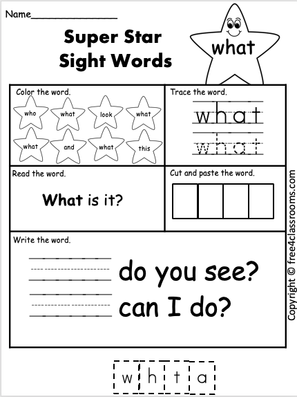 Free Sight Word Worksheet what