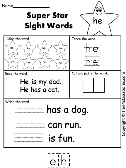 Free Sight Word Worksheets he