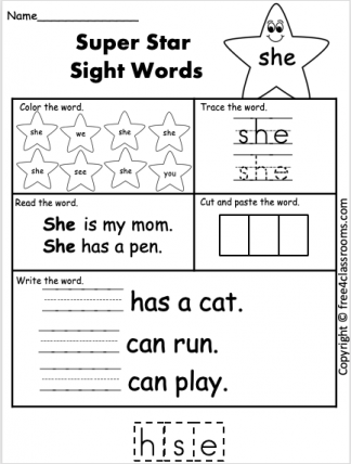 Free Sight Word Worksheets she