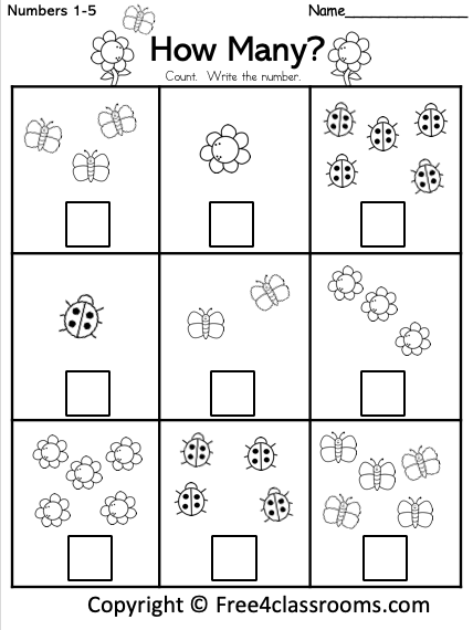 Free Spring Math - Number Counting Worksheet 1 To 5 - Free4Classrooms