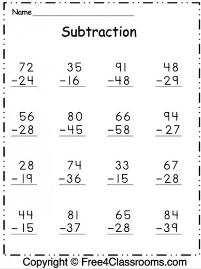 Free Subtraction 2 Digits Worksheet