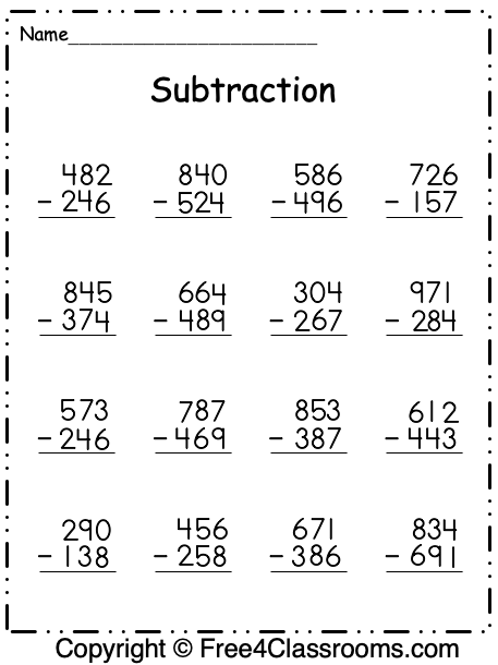 Free Subtraction Worksheets - 3 Digit - With Regrouping - Free4Classrooms