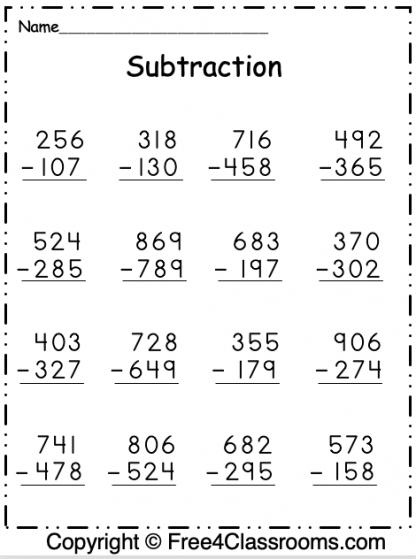 Free Subtraction 3 Digit Worksheet