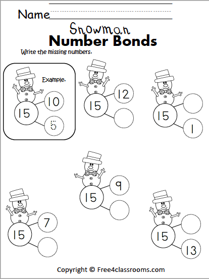 Free Winter Math Number Bonds Worksheet