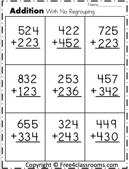 free 3 digit addition worksheets
